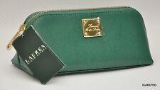 Nwt Ralph Lauren SLOAN STREET Small Triangle Leather Cosmetic Case Zip Bag Green