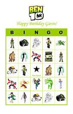 Ben 10 Birthday Party Game Bingo Cards