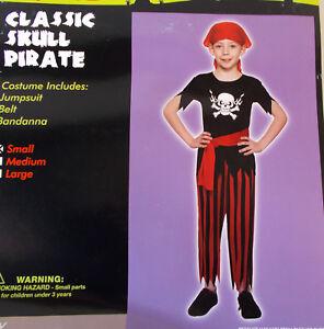 Classic Skull Pirate Child Costume S M L NIP