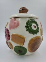 Vintage Cookies All Over Cookie Jar Los Angeles Potteries USA Walnut Top 1950's