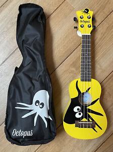 Octopus Soprano Left Handed Kayman Yellow Ukulele With Valencia Tuner