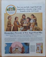 1956 magazine ad for Dromedary Angel Food - Brownie scouts, historic GSA recipe