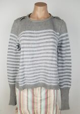 Free People Size Small Angora Rabbit Wool Cotton Striped Crew Neck Sweater Loose