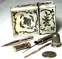 ANTIQUE c1700's~GEORGIAN,MOTHER of PEARL case ETUI,SILVER TRIM & TOOLS~GoRgEoUs!