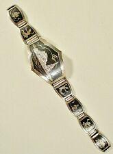 Vintage Sterling DAMASCENE Bracelet For PARTS - REPAIR