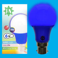 1x 6W LED Blue Coloured GLS A60 Light Bulb Lamp BC B22 Low Energy 110 - 265V