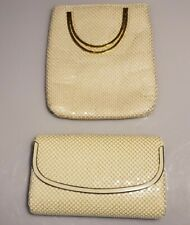Lot of 2 Vintage 80s style White Metal Mesh handbag, clutch, Gold round handles