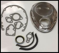 TIMING CHAIN COVER KIT SBC CHEV ALUMINIUM POLISHED INC GASKETS AND FRONT SEAL!