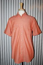 Orvis Short Sleeve Shirt Military Style Button Front Orange 100% Cotton Medium