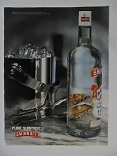 1994 Print Ad Smirnoff Vodka ~ Pure Surprise Bucket of Ice into Pearl in Oyster