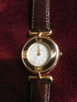 Vintage Fossil Wrist Watch for Women gold tone round face leather band