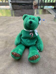 "Limited Treasures 1998 Holiday Edition Sugar Cane Green Retired Plush Bear 9"""