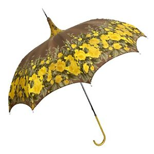 Vintage Hong Kong Yellow Brown Floral Pagoda Umbrella Leather Handle