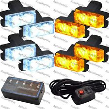 16 LED White Amber Light Emergency Warning Strobe Flashing Bar Hazard Waterproof