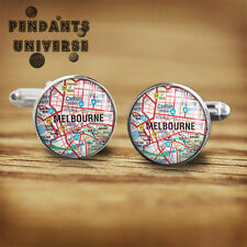 Melbourne Flag Handmade glass cabochon cuff links 16mm Cufflinks