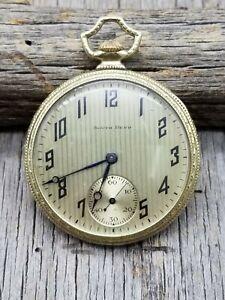 Vintage South Bend 411 Pocket Watch 12 size 17 jewels Wadsworth GF 25 Year Case