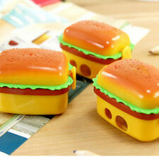 FD1362 2 Hole Hamburger Pencil Sharpener Eraser Novelty Children Study Tools 1PC