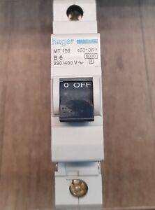 Hager MT106 B6 450106 7 Type B Single Pole MCB Circuit Breaker 230/400v 6amp