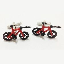 Red Black Bike Bicycle X Games Trick BMX Cufflinks Stunt + Box And Cleaner