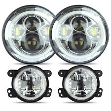 LED Halo Headlights + LED Fog Light DRL Combo Kit For Jeep Wrangler JK 07-2016 C