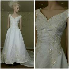 ivory wedding dress with train Beaded and sequins  size 10  by Michaelangelo