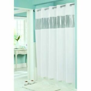 Hookless 71 in. x 74 in. White Vision Shower Curtain with Clear Vinyl Window