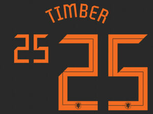 2020 2021 OFFICIAL NETHERLANDS AWAY NAME SET TIMBER 25 = PLAYER SIZE