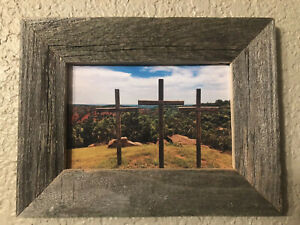 3 Wooden Crosses Photograph Authentic Barn Wood Frame 4x6 Canyon Texas Art Photo