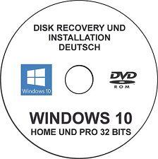Windows 10 Home und Professional 32 bits Disk Recovery und Installation German.