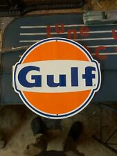 GULF OIL GAS SIGN  OLD VINTAGE 1960/'S STYLE ADVERTISING ANTIQUE GAS PUMP SIGN