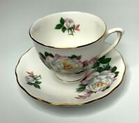 Mid Century Royal Vale English Bone China English White Rose Teacup and Saucer
