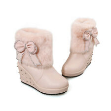 Bankett Damenstiefel Kunst-Pelz Ankle Boots Schleife Stiefeletten Winter Boots