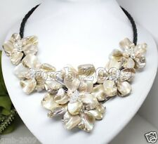 """Fashion Women's White Shell Flower Pearl Crystal Black Leather Bib Necklace 18"""""""