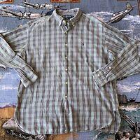 Men's XL Green Checkered Plaid Ralph Lauren Button Up Long Sleeve Collared Shirt