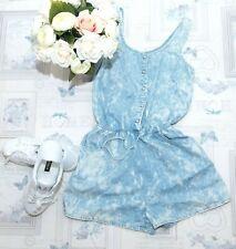 New Look Blue Playsuit Jumpsuit Size 8 UK Summer Pure Cotton