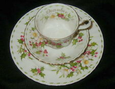 VINTAGE ROYAL ALBERT CHINA CUP, SAUCER & PLATE, DECEMBER CHRISTMAS ROSE FLOWER