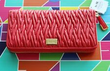 $248 Coach Madison Wallet Leather Zip Around Accordion Red Love Gathered Twist