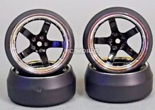 RC 1/10 DRIFT WHEELS Package 0 Degree 9MM Offset 5 Spoke BLACK W/ CHROME LIP