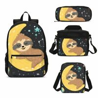 Anime Sloth Print Children School Backpack Set Lunch Bags Sling Bag Pen Case Lot