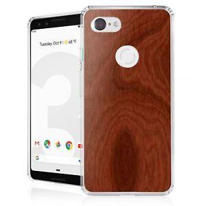 "For Google Pixel 3 (5.5"") Slim Bumper Shockproof Case Wood Cherry"