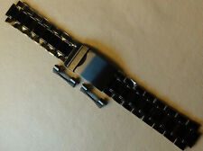 New Mens Timex Stainless Steel 22mm Black Watch Band Fliplock Trifold Round Ends