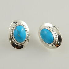 Native American Sterling Silver Turquoise Post Earrings Signed