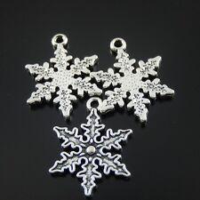 28pcs/lot Vintage Silver Alloy Cute Snowflake Pendant Charms 25*20*2mm 39417