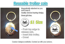 SKULL N CROSSBONES PIRATE - REUSABLE £1 SHOPPING TROLLEY TOKEN - GREAT GIFT IDEA