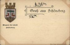 Gruss Aus Schoneberg Germany w/ Crest c1900 Postcard