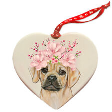 Puggle Dog Porcelain Floral Heart Shaped Ornament Décor Pet Gift