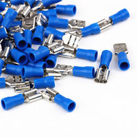 50pcs Blue Female insulated Spade Electrical Crimp Wire Cable Connector Terminal