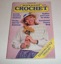VINTAGE QUICK AND EASY CROCHET SMALL MAGAZINE JULY AUGUST 1987 ISSUE