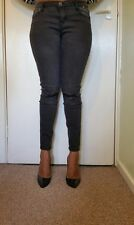Women black blue ripped patch work distressed skinny midrise jeans uk size 8-20