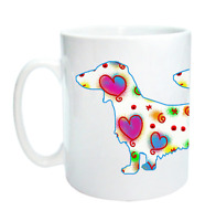 Dachshund Dog Mug Dog Cool Modern Heart Design Birthday Xmas Mothers Day Gift